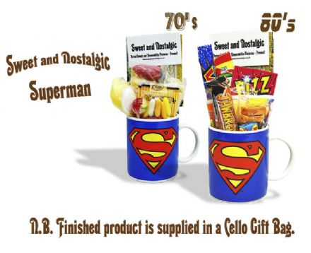 Superman Mug with/without a superhuman portion of 70's or 80's Sweets